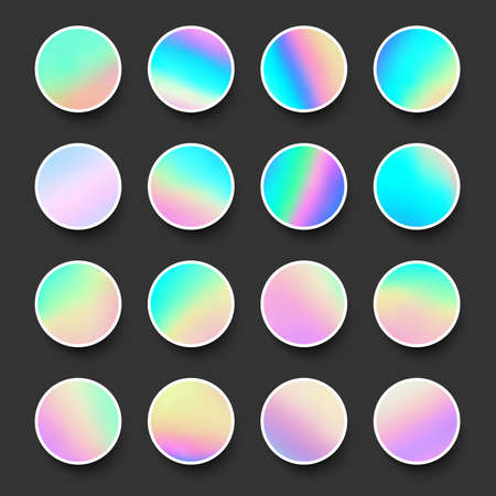 Set of rounded holographic gradient sphere buttons in pink, yellow and blue shades. Black background. Vector web design illustration. 일러스트