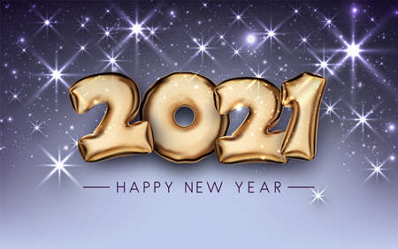 Golden foil balloon 2021 sign on dark violet background with shiny stars. Happy new year sign. Vector holiday illustration.