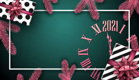 Creative christmas frame on green background. Pink clock face, spruce branches. Black and white present boxes with beautiful pink bows. White square frame. Dark green background. Vector holiday illustration. Ilustrace