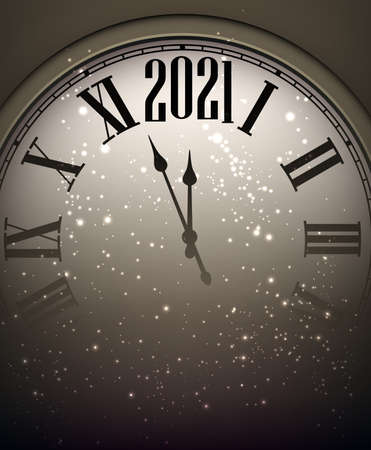 Creative clock showing 2021 year with shiny lights on dark background. Vector holiday illustration.