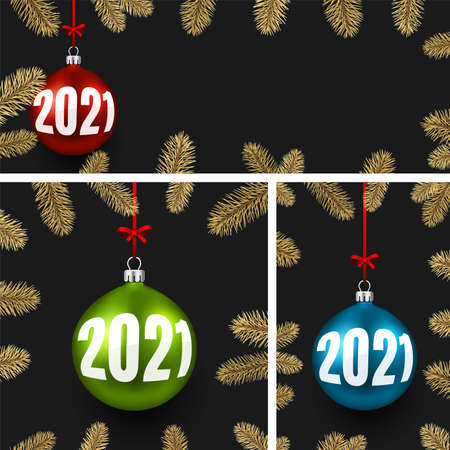 Set of new year frames with christmas tree toys with 2021 sign hanging on red ribbons with bow. Frame with gold spruce branches. Space for text. Black background. Vector holiday illustration. Ilustrace