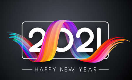 2021 sign in white square frame with multicolored gradient serpentine. Happy new year sign. Dark gray background. Vector holiday illustration. Ilustrace