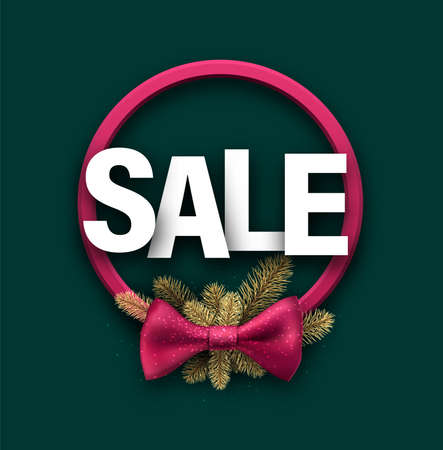Pink wreath with bow and golden spruce branches. White SALE sign above it. Green background. Vector holiday illustration.