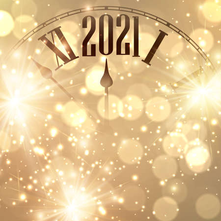 Clock hands showing 5 minutes to 2021 year. Creative clock on gold sparkling background with lights and fireworks. Vector holiday illustration.