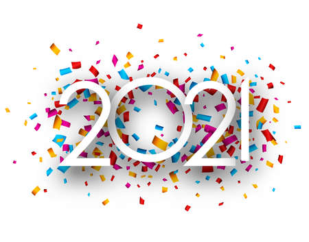 2021 thin paper sign on multicolored confetti background. Vector holiday illustration.