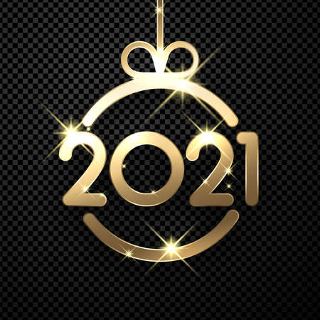 Sparkling gold christmas tree toy with 2021 sign hanging on ribbon. Transparent background. Vector holiday illustration.