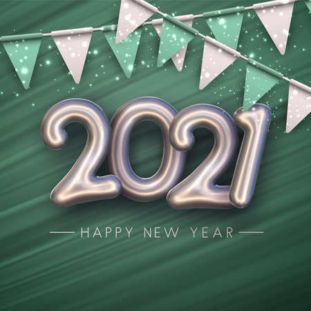 Silver foil balloon 2021 sign on green brush strokes background. White and green flags garland. Happy new year sign. Vector holiday illustration.