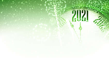 Part of clock showing 2021 year on green background with shiny lights like snow. Vector holiday illustration.