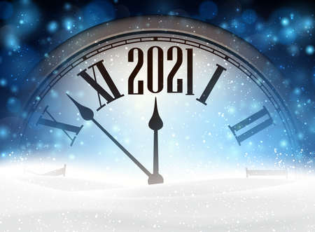 Clock hands showing 2021 year instead of twelve o'clock. Creative clock with shiny lights on blue background. Snowdrift hiding a half of clock. Vector holiday illustration.