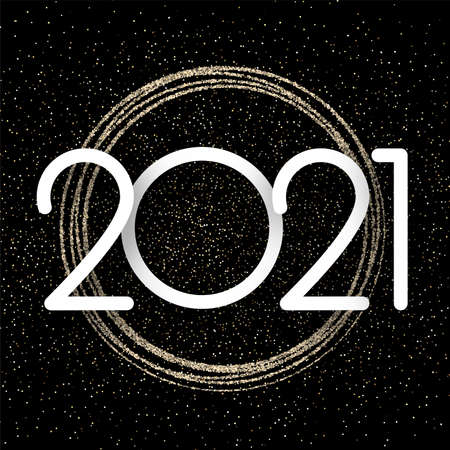 White 2021 sign over golden spot lights confetti on black background. Spots taking round shape. Vector holiday illustration.