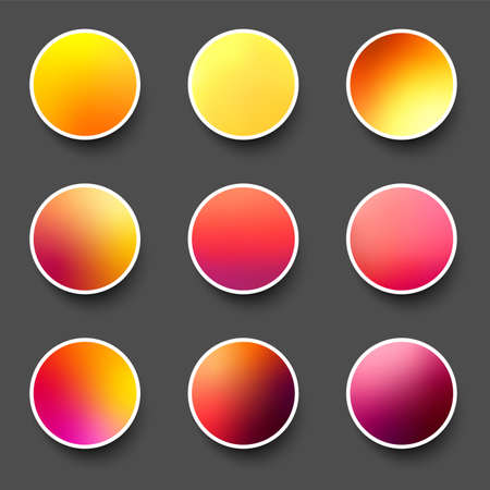 Set of rounded holographic gradient sphere buttons in pink, yellow and red shades. Black background. Vector web design illustration.