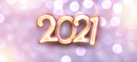 Golden foil balloon 2021 sign on blurred violet bakground. Space for text. Vector holiday illustration. Ilustrace
