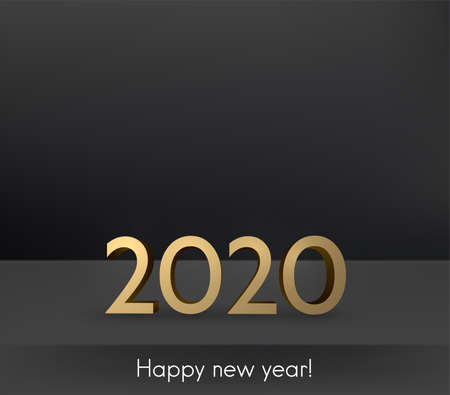Gold 3d 2021 sign on black background. Happy new year sign. Some space for your text. Vector festive illustration.