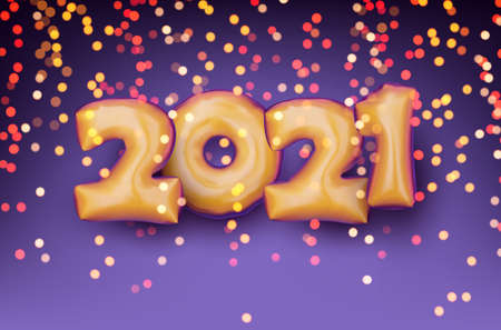 Golden foil balloon 2021 sign on violet background with blurred yellow, red, pink, orange lights confetti. Vector holiday illustration. Ilustrace