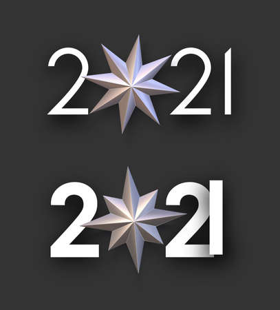 Set of 2021 white signs with bronze stars instead of 0. Black background. Vector holiday illustration.