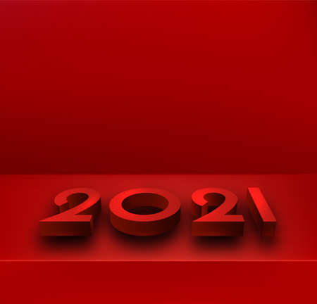 Red 3d 2021 sign lying on surface. Some space for your text. Vector festive illustration. Ilustrace