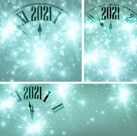 Set of clocks showing 2021 year. Creative clocks with shiny stars on emerald green background. Vector holiday illustration.