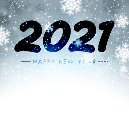 2021 drawn on misted glass. Happy new year sign. Black and blue background with snowflakes. Vector holiday illustration.