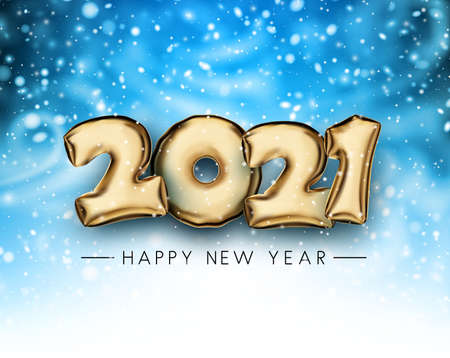 Golden foil balloon 2021 sign with snow on dark blue background. Happy new year sign. Vector holiday illustration. Ilustración de vector