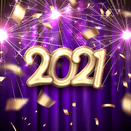 Golden foil balloon 2021 sign on dark violet curtains background. Golden confetti and sparkling fireworks. Vector holiday illustration. Ilustrace