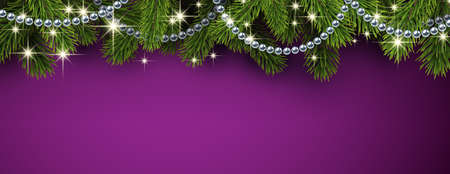 Green spruce branches with silver beaded garland and shiny stars. Purple background. Space for text. Vector holiday illustration.