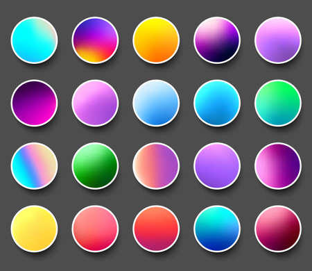 Set of rounded holographic multicolored gradient sphere buttons. Gray background. Vector web design illustration.