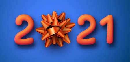 Orange 2021 balloon sign with a bow instead of 0. Blue background. Vector holiday illustration.