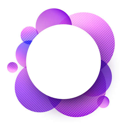 Rounded white frame with rounds in violet shades with lines. Space for text. Vector illustration.