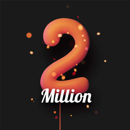 2 million sign orange balloons with threads on black background with lights confetti. Vector festive illustration.