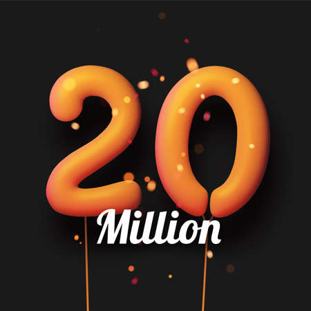 20 million sign yellow balloons with threads on black background with lights confetti. Vector festive illustration.