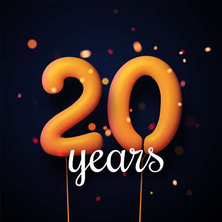 20 years sign orange balloons with threads on black background with lights confetti. Vector festive illustration.