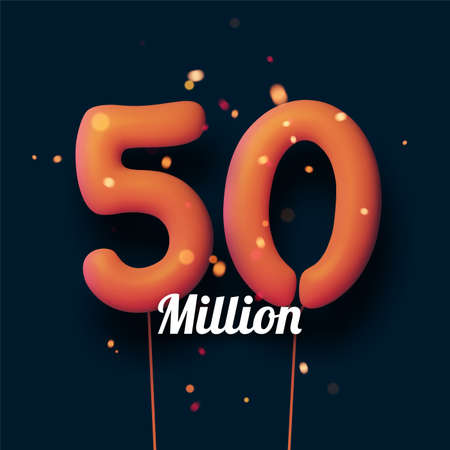 50 million sign orange balloons with threads on black background with lights confetti. Vector festive illustration.
