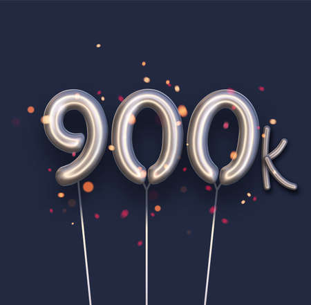 Silver balloon 900k sign on dark blue background. 900 thousand followers, likes, subscribers. Vector illustration.