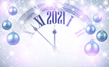 Part of clock showing 2021 year. Blue and violet christmas tree toys with different design hanging on threads. Vector holiday illustration.