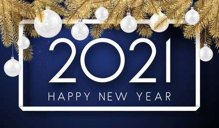 White 2021 sign in square frame. White christmas tree toys hanging on threads, golden spruce branches. Happy new year sign. Dark blue background. Vector holiday illustration.