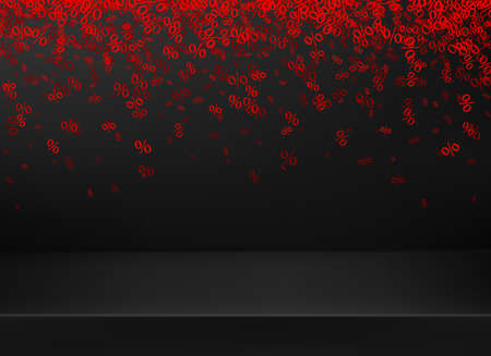 Red percents falling on black 3d surface on black background. Space for text. Vector illustration.