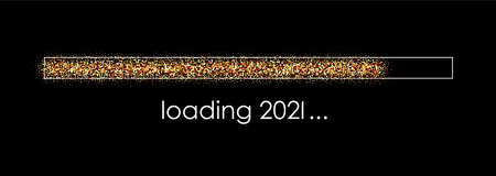 New year 2021 loading bar on black background. Orange, yellow, red confetti. Vector holiday illustration. Vecteurs