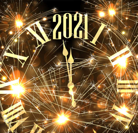 Golden gradient clocks showing 2021 year. Black background with gold shiny sparkles and fireworks. Vector holiday illustration.