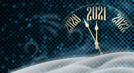 Clock hands showing 5 minutes to 2021 year. Creative clock on blue transparent background. Vector holiday illustration.