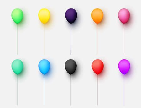 Set of balloons of different colors with threads on light grey background. Vector festive illustration.