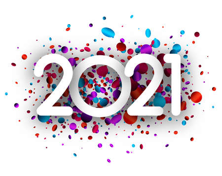 2021 paper sign on multicolored round and oval confetti background. Vector holiday illustration.