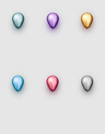 Set of foil balloons of different colors with threads on light grey background. Vector festive illustration.