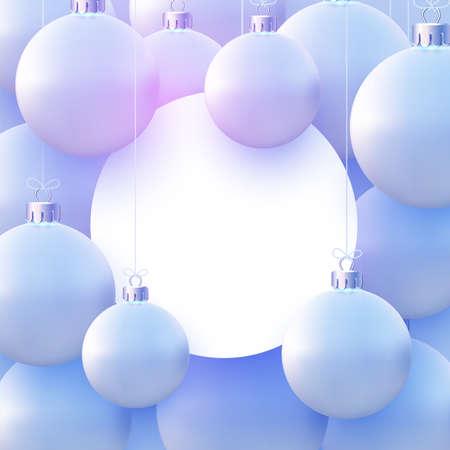 White round frame with matt light blue christmas balls hanging on threads. Space for text. Vector festive illustration. Illustration