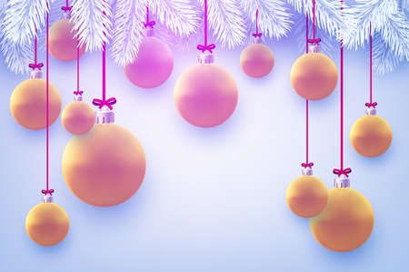 Matt pink and orange christmas balls hanging on ribbons with bow. White spruce branches. Light blue background. Vector festive illustration. Illustration