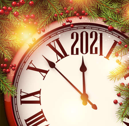 Clock hands showing 2021 year instead of twelve o'clock. Creative red clock with spruce branches and berries. Vector holiday illustration.