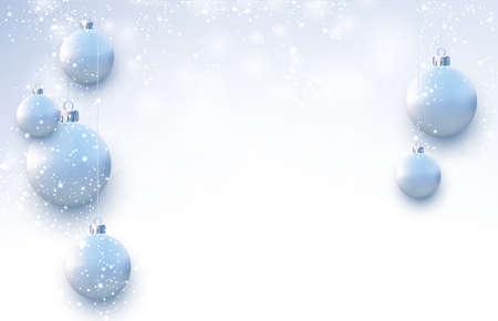 Matt light blue christmas balls hanging on threads. Snowing weather. Space for text. Vector festive illustration. Ilustração Vetorial