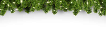 Green spruce branches with shiny lights. Winter Xmas decoration for cards, flyers, banners. Space for text. Vector illustration.