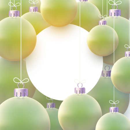 White round frame with matt light green christmas balls hanging on threads. Space for text. Vector festive illustration.