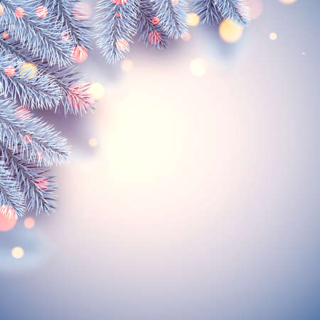 Frosted blue spruce branch bokeh lights. Space for text. For cards, posters. Vector illustration.