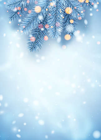 Frosted blue spruce branches border. Bokeh lights. Space for text. Card, poster, flyer template. Winter Xmas vector illustration.
